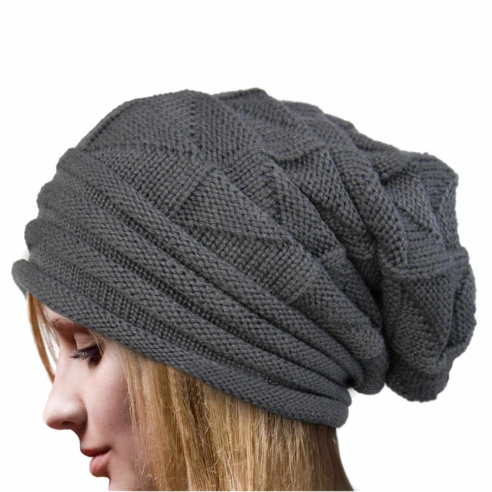 Women winter hat wool knitted beanies cap natural fur pompom hats solid colors ski gorros cap female causal hat #BL5