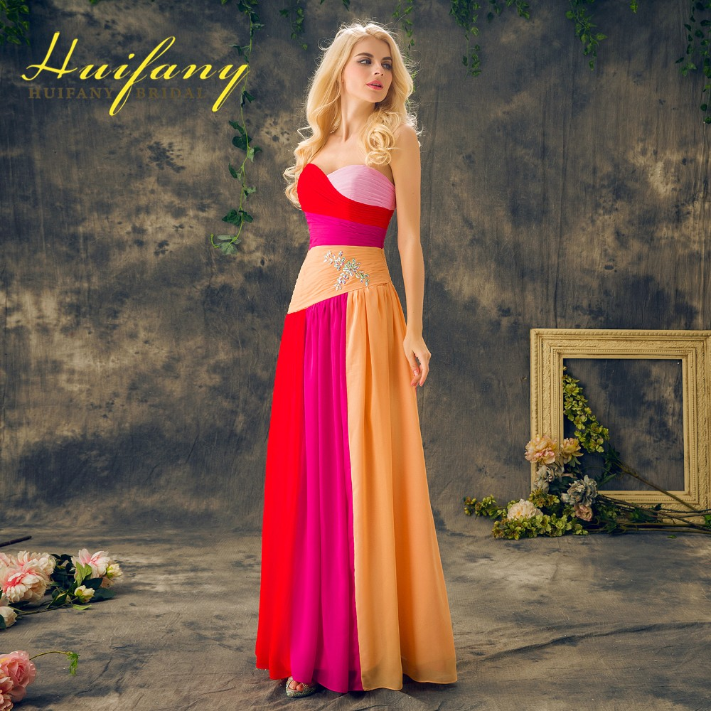 2ee3dde715447 Chiffon Colorful Prom Dresses Sweetheart Long Floor Length Ruched Ombre  Graduation Party Dress robe de soiree 2017 Evening Gowns-in Prom Dresses  from ...