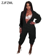 Front Zipper Casual Jumpsuits For Women 2019 Rose Red Long Sleeve Stand Collar Party Bodysuit Stretwear
