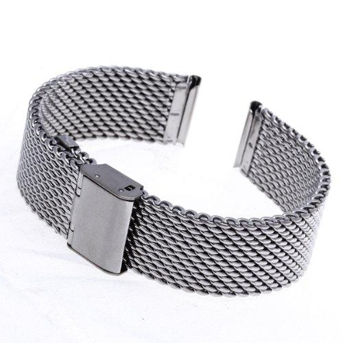 YCYS-18mm Unisex Mesh Steel Watch Band Strap Bracelet Safety Buckle Silver Hot