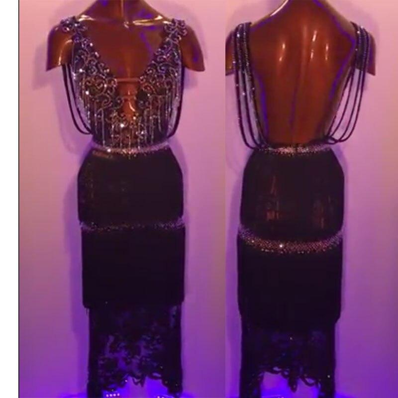 Latin Dance Dress Women, Sexy Black Latin Cha Cha Tango Dance Dresses, Custom-mada Handmade Rhinestone Bead Tube Latin Dress.