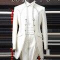 De alta classe elegante palácio branco dos homens ternos do noivo do casamento Slim Fit homens Blazer smoking Mens ternos com calças Terno Masculino 2015