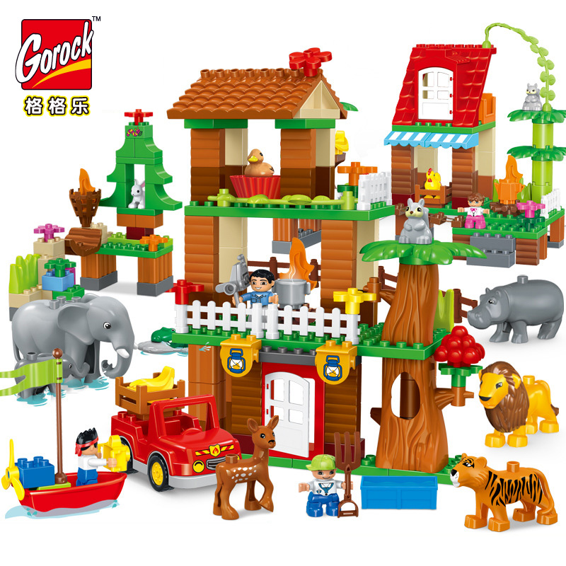 GOROCK Jungle Animal Building Blocks DIY Enlighten Boy Figure Large Size Bricks Baby Gift Compatible With Duploe Kids Toys 26pcs highway bridge blocks set large train railway building blocks kids diy toys compatible with duploe children gift
