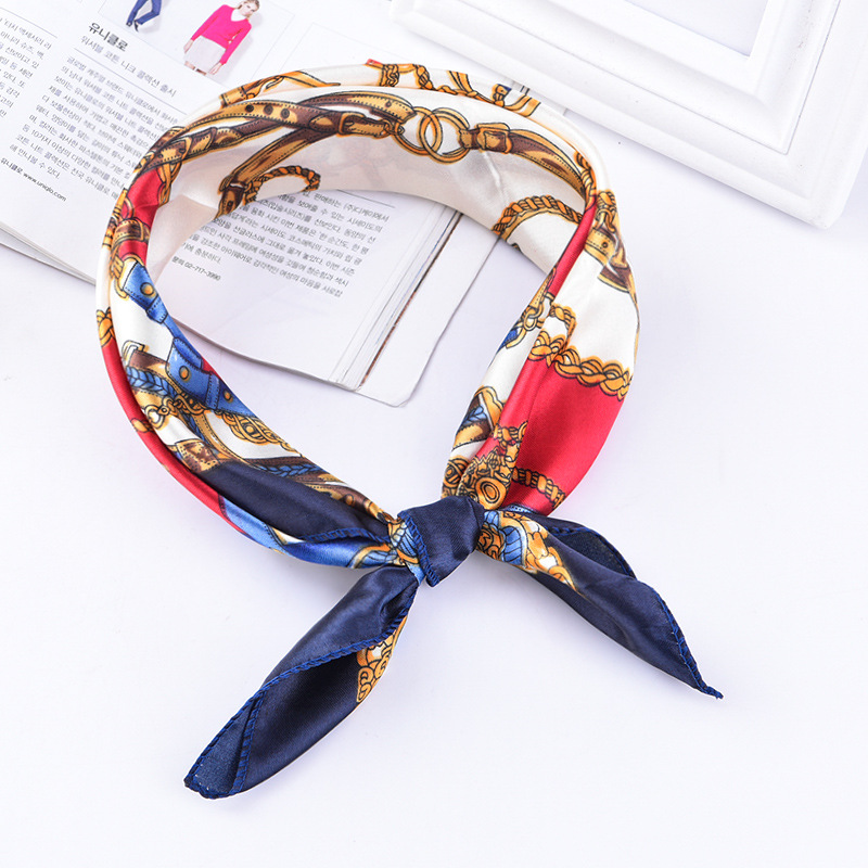 Fashion Etiquette 50*50cm High Quality  Scarf Women Small Soft Squares Decorative Head Scarf  Stripe Print Kerchief Neck Wrap