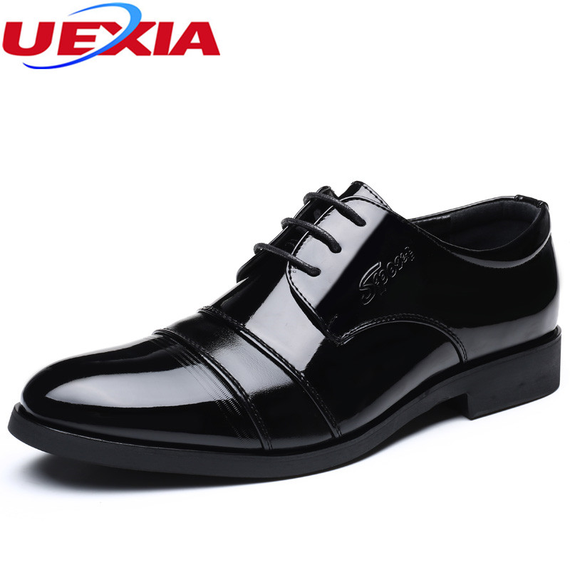 Business Classic Office Leather Elegant Formal Dress Men Shoes Oxfords Wedding Mens Casual High Quality Pointed Toe Flats Black top quality crocodile grain black oxfords mens dress shoes genuine leather business shoes mens formal wedding shoes