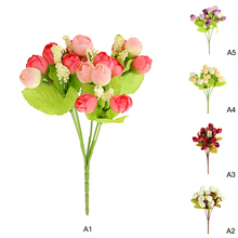 24cm Artificial Spring Rose Peony Flowers Bouquet Cheap Small Tea Buds Flores  Beautiful Wedding Home Party Decor Fake