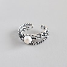 HFYK 925 Sterling Silver Ring For Women Chain Black Vintage Rings Freshwater Pearl 925 Silver Jewelry  Bague Femme Anillos Aneis цена
