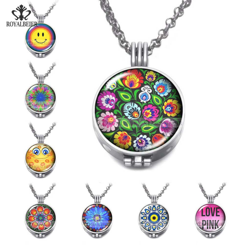 ROYALBEIER 1pc Aroma Open Antique Vintage Locket Pendant Perfume Round Shape Aromatherapy Diffuser Necklace Locket 80Cm Charms купить в Москве 2019