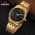 AMUDA Marca Cuarzo de Los Hombres Relojes de Los Hombres de Negocios de Acero Inoxidable Relojes Hombres hombres Reloj Relojes Militares Relogio masculino