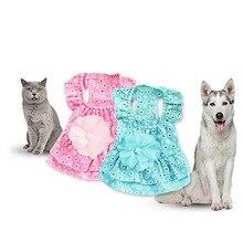 Юбки для собак, платье для домашних животных, платье принцессы для собак, свадебная одежда для маленьких и средних собак, платья из хлопка на бретельках, юбка с кошкой для домашних животных