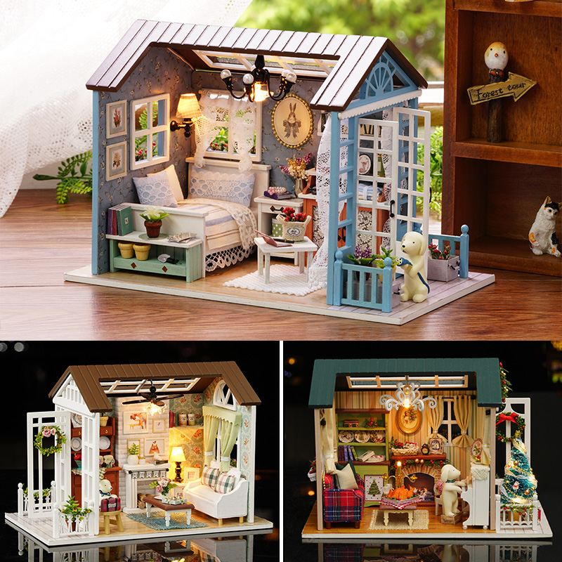 Doll House Miniature DIY Dollhouse With Furniture American Retro Style Wooden House Handmade Puzzle Toy Forest Times Z Series #E retro wooden house print waterproof shower curtain