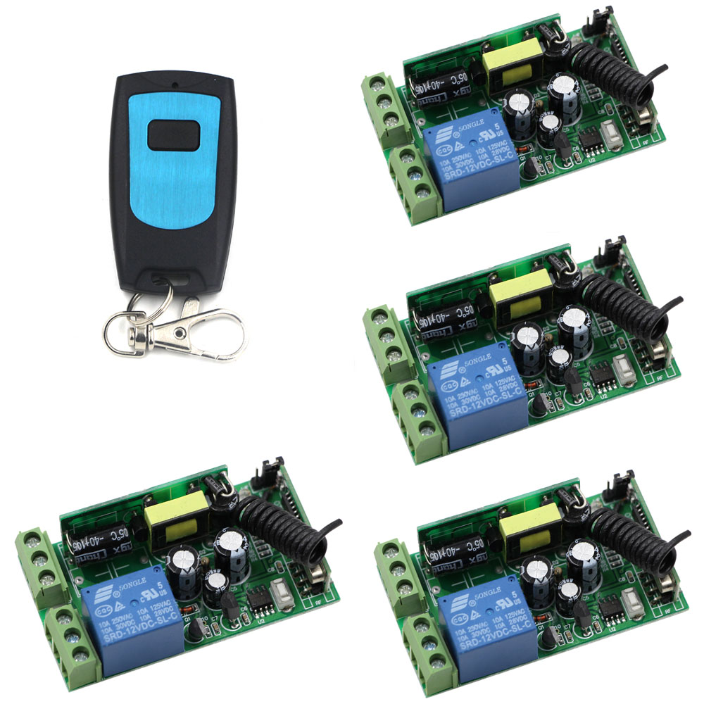 AC 85V 110V 220V 250V 1CH 10A Relay Wireless Remote Control Switch 4*Receiver & Transmitter Lamp/Light LED Remote ON OFF System ac 220v wireless remote control switch remote on off 1ch 10a relay radio light switch receiver 3000m long range transmitter