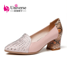 ФОТО universe office & cateer pumps fashion shoes with bling genuine leather pointed toe square heel shoes c168