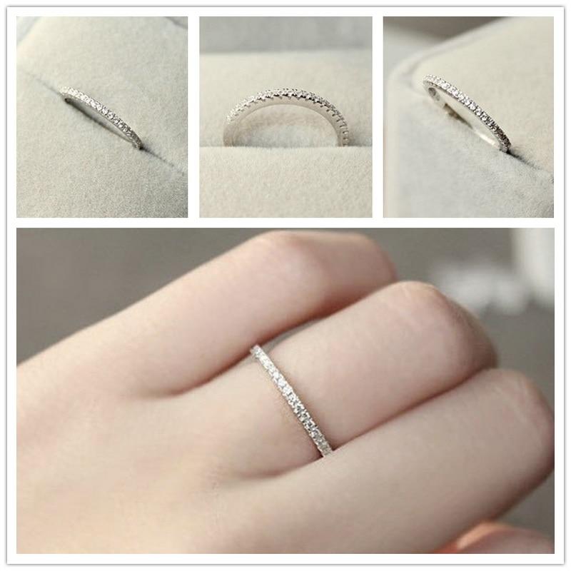 1pc s925 prata 4 11 11 eua tamanho cz banhado simulado eternity anel bandas de casamento moda jóias para mulheres bague anillos anel masculino