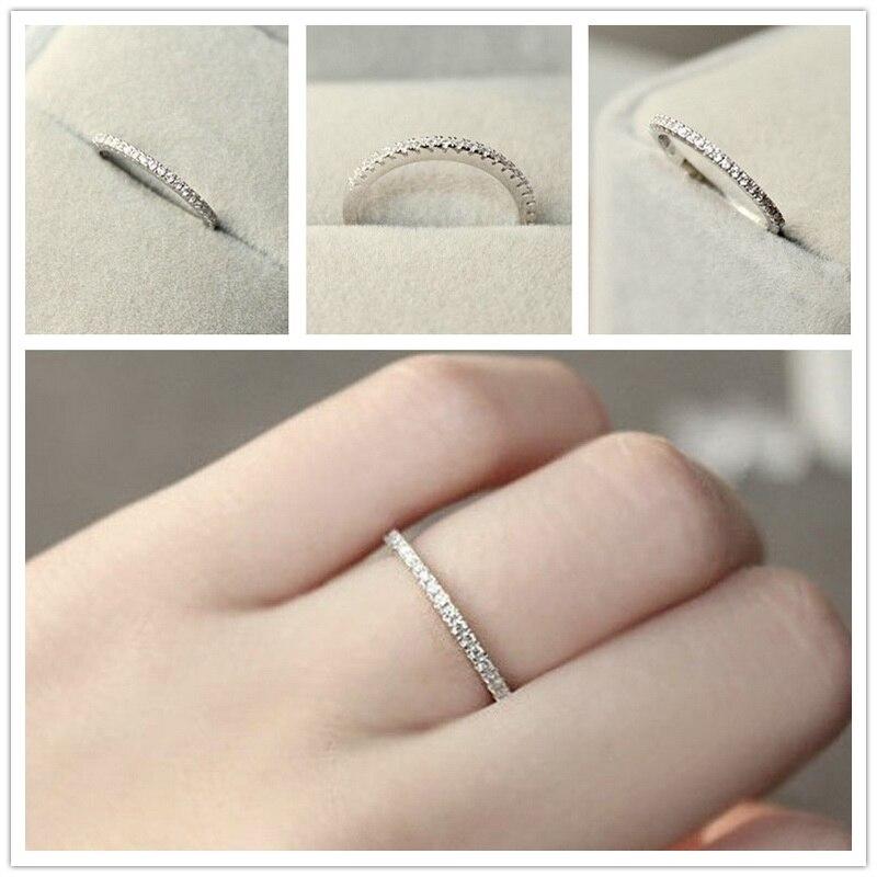1 Pza S925 plata 4 ~ 11 EE. UU. Tamaño CZ plateado anillo de eternidad simulada Anillos de boda joyería de moda para mujeres Bague Anillos anillo de hombre