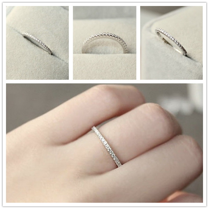 1 pc S925 argent 4 ~ 11 USA taille CZ plaqué simulé éternité anneau bandes de mariage mode bijoux pour femmes Bague Anillos hommes anneau