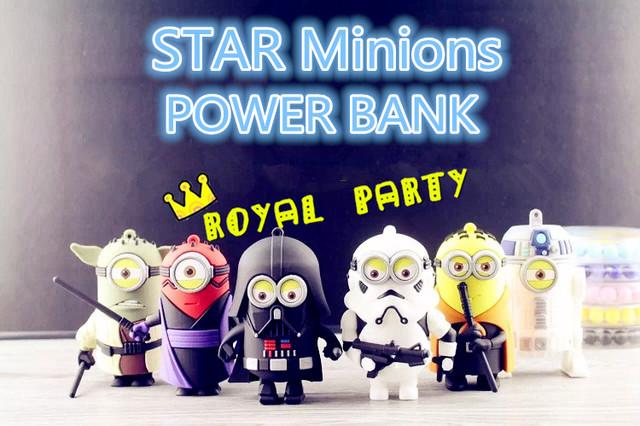 Nueva minions de star wars 7 banco de la energía de 4000 mah batería externa powerbank para iphone android teléfono móvil de emergencia portátil batería