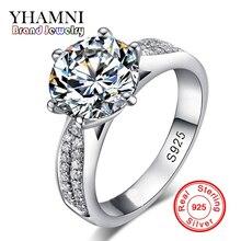Купить с кэшбэком Lose Money Promotion! Fine Jewelry 100% Solid Sterling Silver Ring Inlay 2 Carat SONA CZ Diamond Wedding Rings for Women BKJZ012