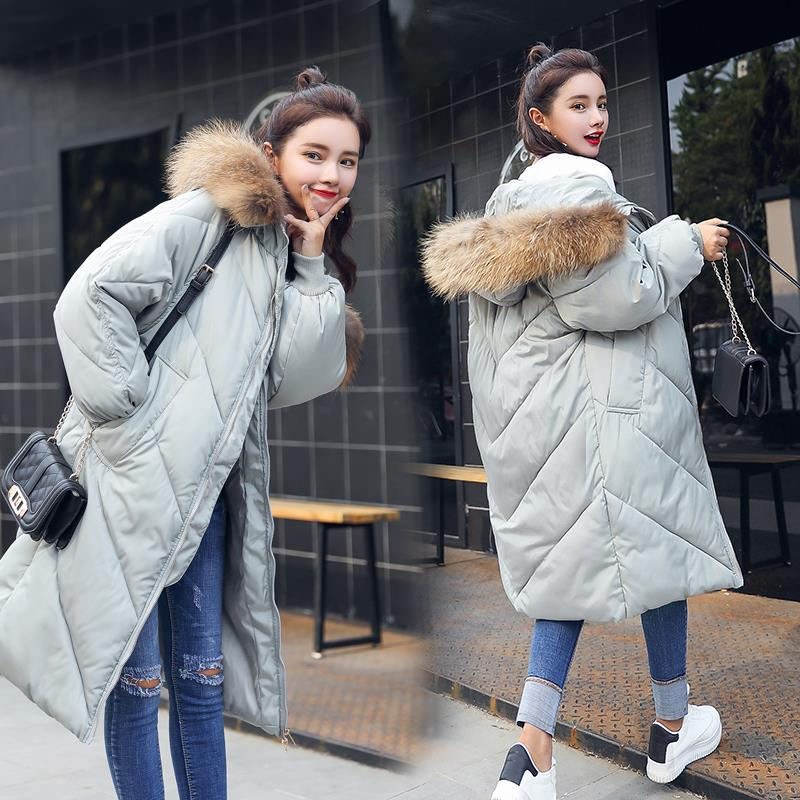 2017 New Casual Parkas Long Winter Coat Big Fur Collar Hooded Thick Loose Jacket Cotton Padded Jackets Female Outwear Plus Sizes qazxsw new korean women cotton jackets hooded long parkas big fur collar casual plus size winter jacket super warm outwear hb375