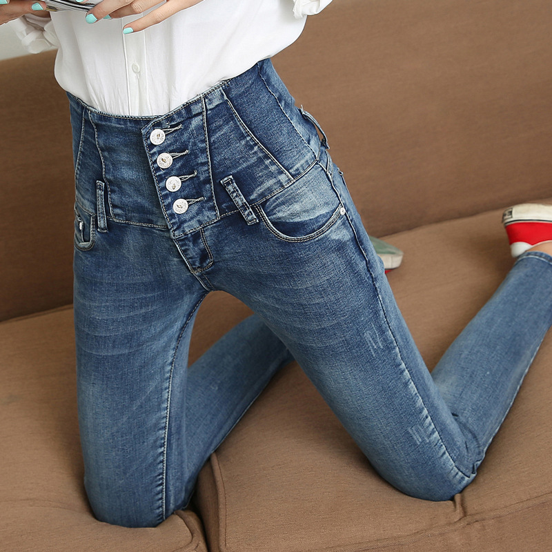 Spring fashion new ladies slim fit denim pencil pants classical all-match single-breasted high waist jeans trousers for women
