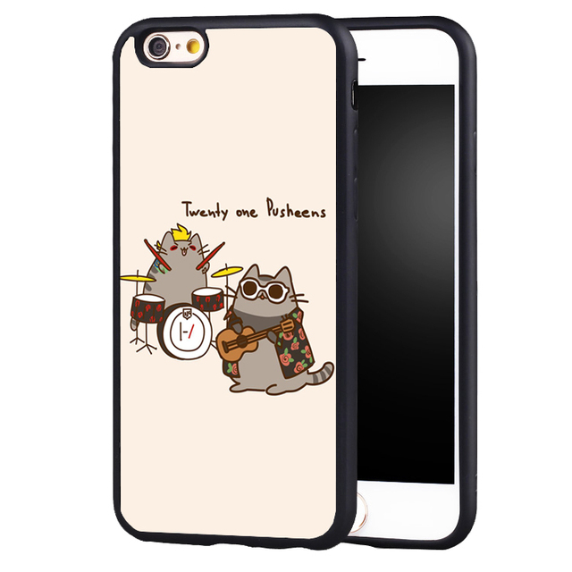 cheap for discount 74487 2b65d US $4.99 |Reboto Twenty One Pilots Lovely Pusheen Black Soft Rubber case  Cover For iPhone 5 5s 5C SE 6 6S 7 Plus-in Fitted Cases from Cellphones &  ...