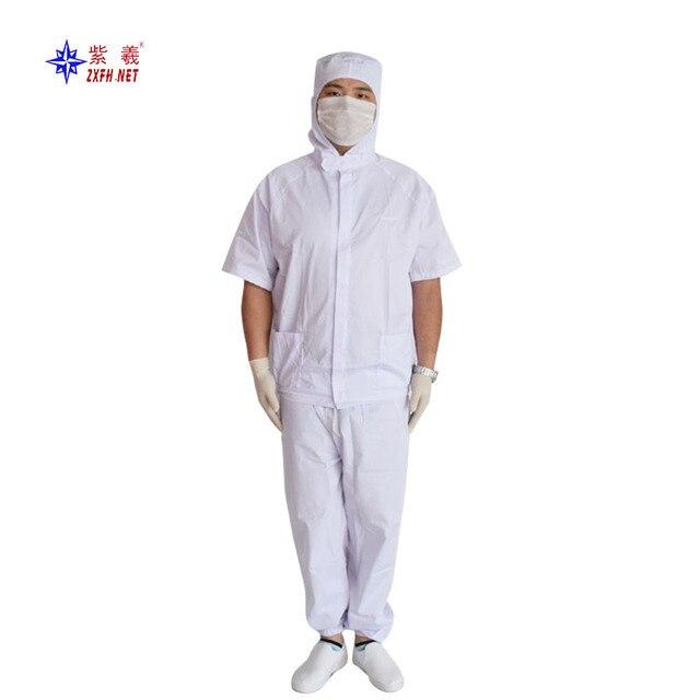 38dbdaea96 Oddychająca koszulka poliester ubrania robocze do pomieszczeń czystych  odzieży z krótkim rękawem ubrania stosowany w żywności
