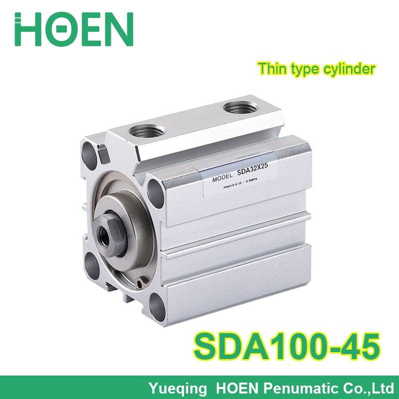 SDA100-45 Airtac type SDA series 3/8 Port Size 100mm Bore 45mm Stroke Pneumatic Compact Thin air Cylinder SDA100*45 su63 100 s airtac air cylinder pneumatic component air tools su series