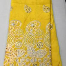 Желто-Фиолетовое Новое поступление африканская кружевная ткань с изображением Георгия, расшитая блестками, нигерийские кружевные ткани L13J0