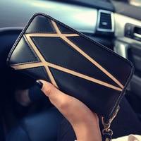 2017 Fashion Luxury Hiệu PU Leather Wallet cho Thẻ Tín Dụng Phụ Nữ Sọc Khâu Dây Kéo Dài Wallets Purse Carteras Mujer