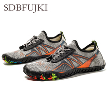 For Men Women Aqua Shoes Summer Swimming Water Drain hole sole Rubber Non-slip On surf Breathable Beach male Wading