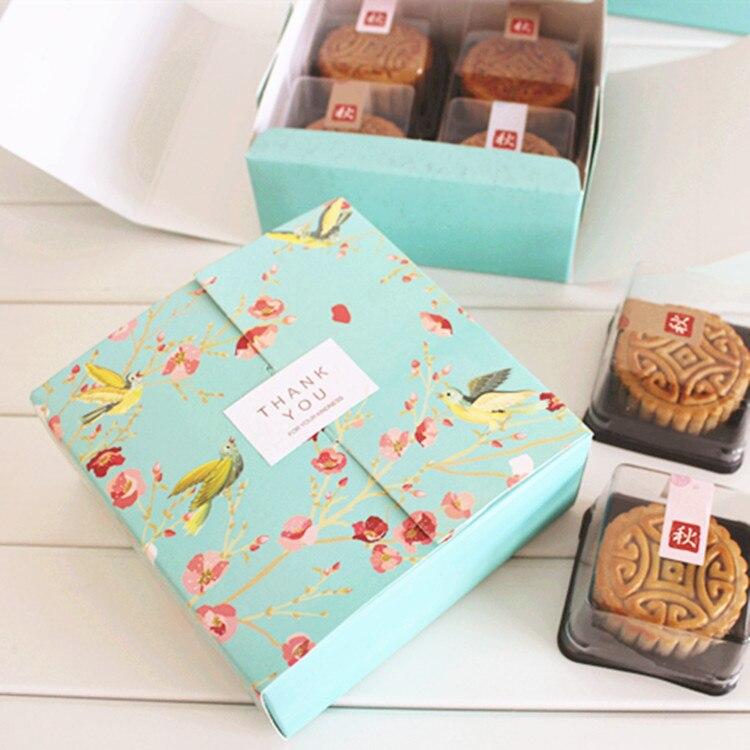 Новые 12*12*4,8 см 10 шт. синий пение птиц дизайн хранения Коробки Бумага Box Дети День рождения ребенка душа Macarons закуски упаковочная