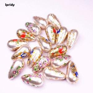 10 Pcs/lot 11x22mm White Japan Painting Vintage Beads Acrylic Hand-painted Drop with Pearl effect for Earrings Necklace jewelry