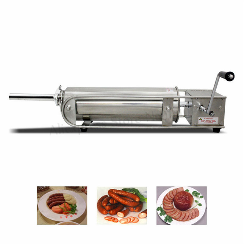 Commercial 5L Manual Meat Sausage Filling Machine Horizontal Sausage Stuffer Butcher Shops Stainless Steel Spain Churro Machine
