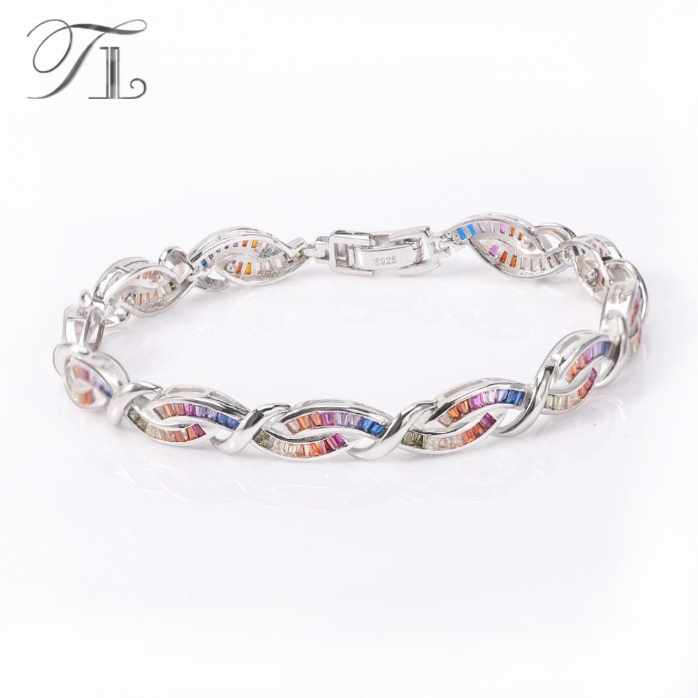 TL 925-Sterling-Silver Bangles&Bracelets For Women Double Twist Interval Bracelets Inlay Rainbow Cubic Zircon 925 Silver Jewelry браслет 925 h03 bracelets bangles