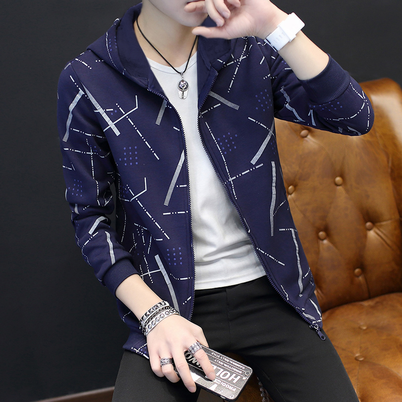 Jackets Men Korean Style Casual Males Coat Students Slim Fit Mens Printed Long Sleeve High Quality Comfortable Ulzzang Daily 24