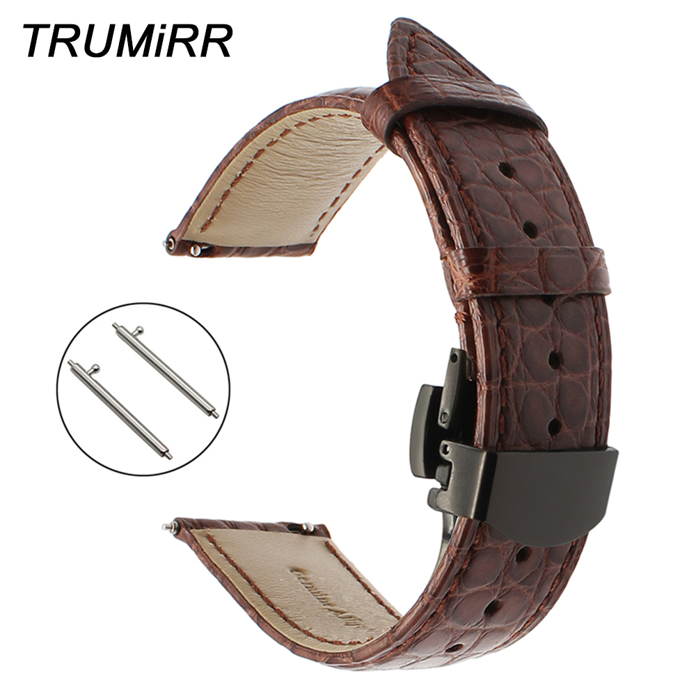 22mm Genuine Alligator Leather Watchband for Asus ZenWatch 1 2 Men LG G Watch Urbane Vector Croco Band Quick Release Strap Belt