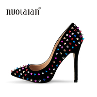 Brand Shoes 12CM High Heels Black Wedding Shoes Women Pumps Rivet Fashion Women Bridal Shoes Sexy