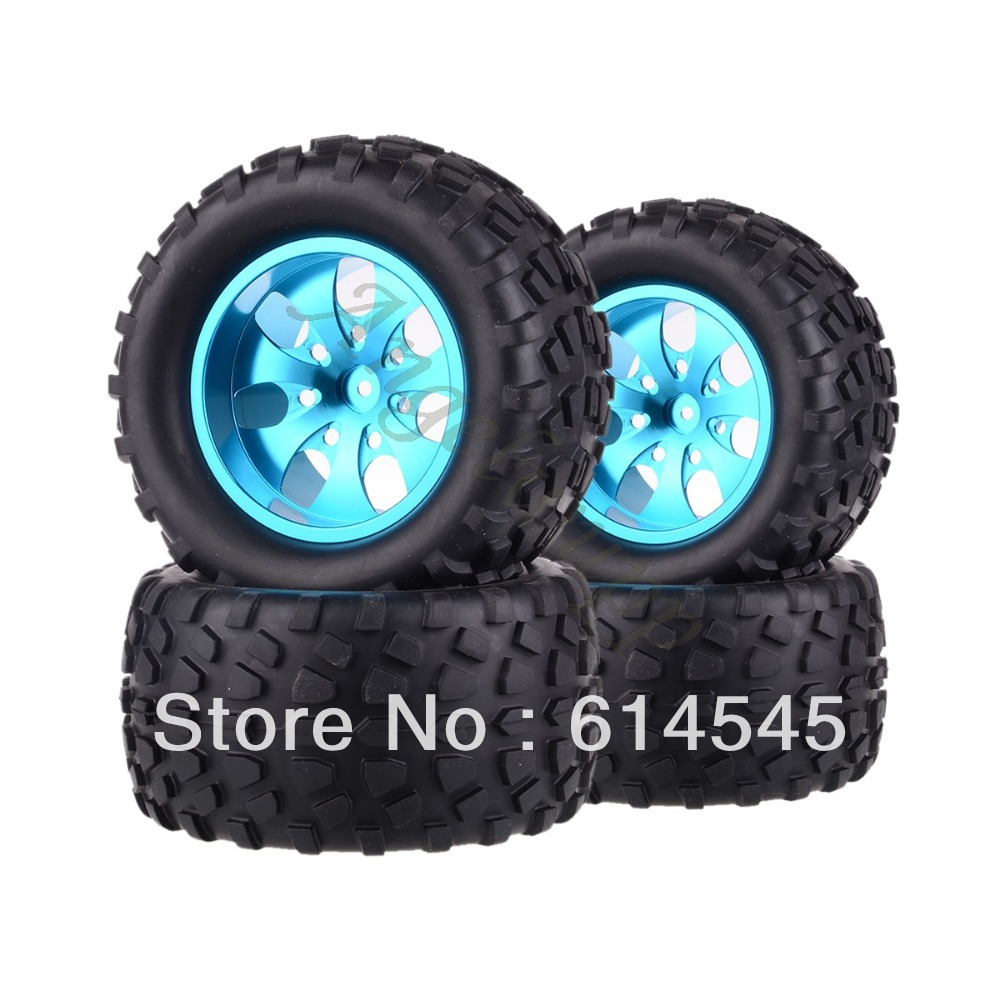 цена на DQR 4x RC Monster Truck Bigfoot Metal Wheel Rim & Tyre Tires 12MM HEX 88106 1:10 RC123 Store