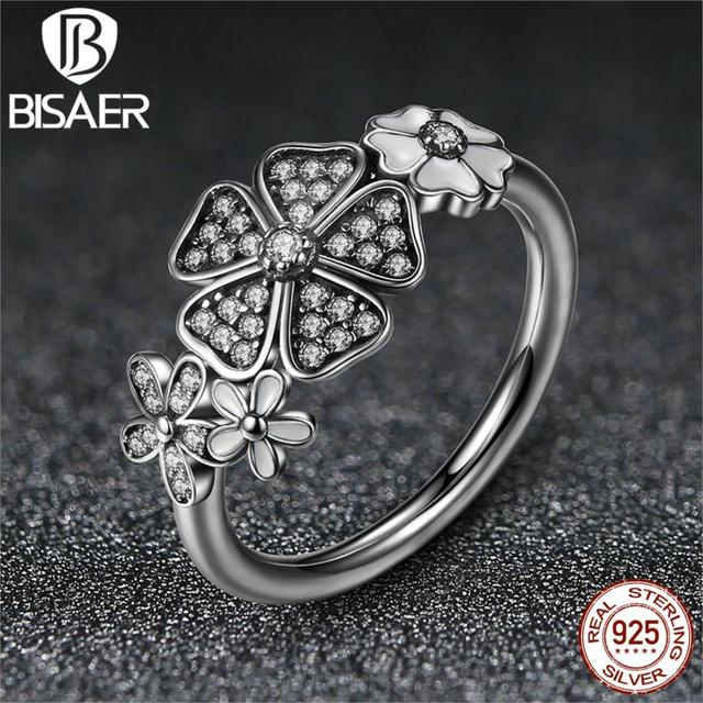 932cef22d 925 Sterling Silver Shimmering Bouquet White Enamel & Clear CZ Flower  Finger Rings Compatible with Pandora Jewelry