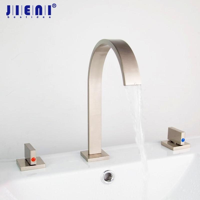 Nickel Brushed 3 pcs Deck Mounted Bathroom Faucet Bath Basin Sink Faucet Nickel Brushed Vanity Faucet 04A Mixer Tap Faucet