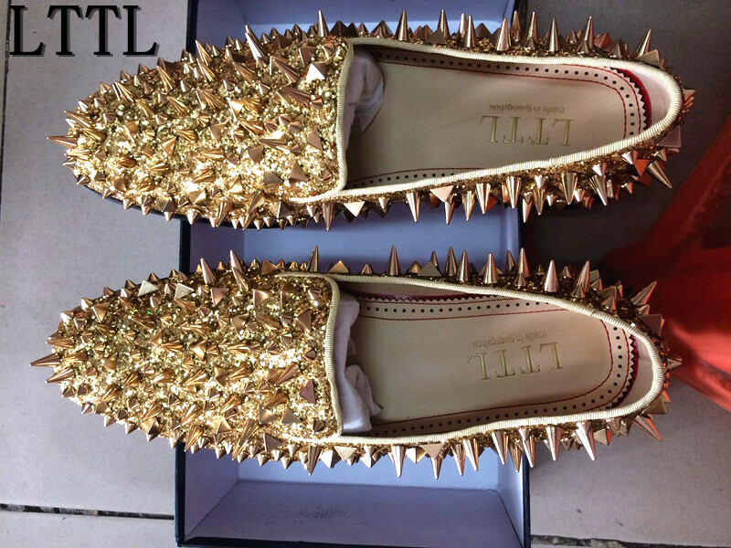 LTTL Men Luxury Shinny Glitter Gold and Silver Spikes Shoes Slip On Loafers Rivets Men Shoes Rhinestones Smoking Slipper Shoes free shipping red bottom glitter spikes high heels spikes prom shoes with silver and black rhinestones spikes evening pumps
