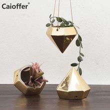Caioffer Hanging Flower Planter Diamond Style Gold Vase Decoration Home Small Ceramic Jarrones Decorativos Moderno For Flowers