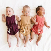 Summer Fashion Newborn Baby Rompers Toddler Girls Boys Linen