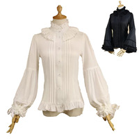 S 2XL Adult Women White Vintage Blouse High Collar Slim Fit Button Up Shirt Victorian Costume Frill Ruffle Lace Top For Ladies