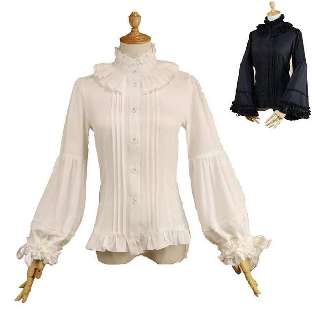 2ff6832e8185c S-2XL Adult Women White Vintage Blouse High Collar Slim Fit Button Up Shirt  Victorian