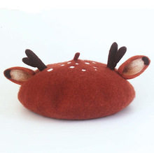 Original Manual Wool Felt Christmas Antler Ears Beret Originality Hat Gift New Product Women