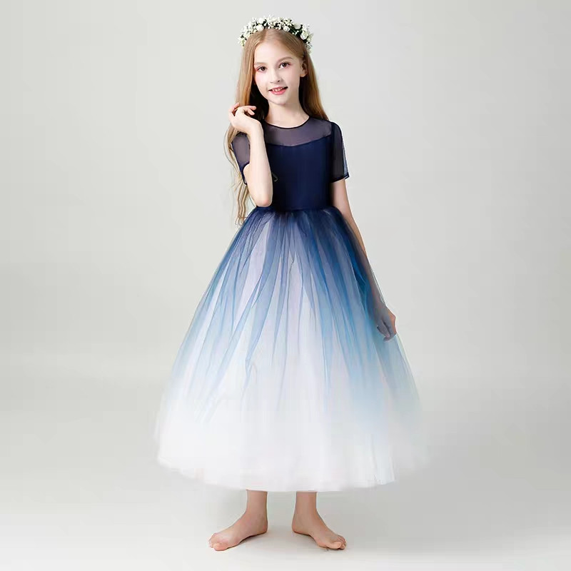 Fashion Baby Girl Evening Party Prom Mesh Long Dress Kids Girl Birthday Wedding Party Dress For3 4 5 6Years Piano Costume Dress music note party swing dress