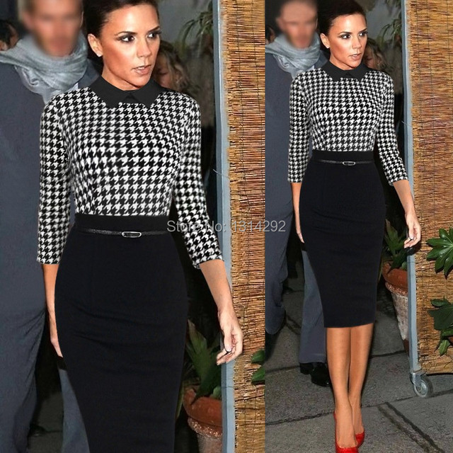 Women spring office work plaid Peter Pan collar casual Victoria Beckham  classy sheath dresses vestidos altura do joelho mola c23c7cc54e7c