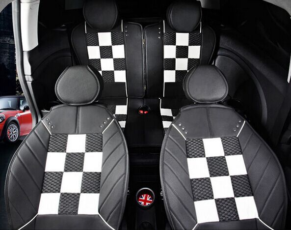 Checkered four seasons leather car Seat Covers for Mini Cooper s convertible R56 Countryman Clubman F55 F56