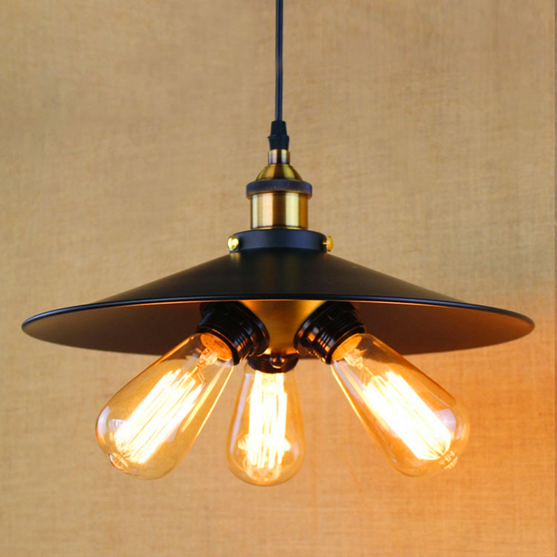ФОТО Vintage Style Retro Rural Edison Loft Industrial Restaurant Wall Lamp pendant lamp Black skirt 3bulbs droplight